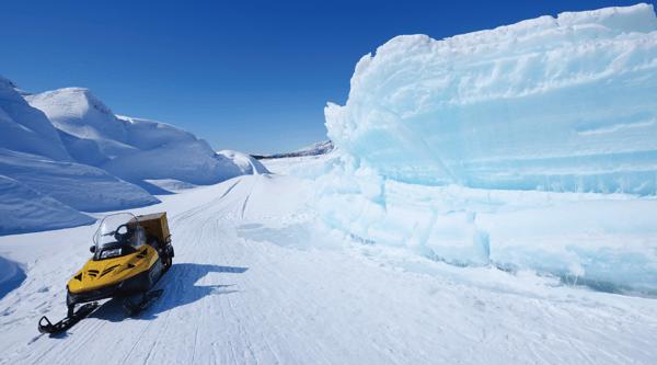 Snowmobile on an Alaskan glacier