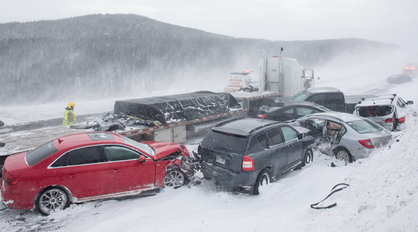 multi vehicle pileup on an icy road