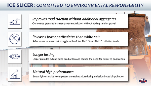 Graphic showing the environment benefits of using Ice Slicer