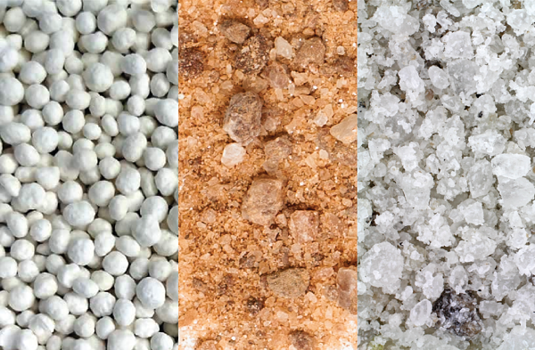 Close up of different ice melt textures