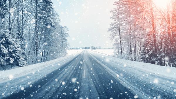 Freshly plowed winter road