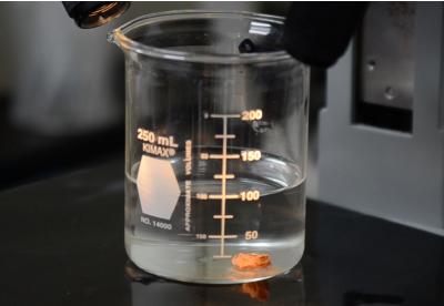 ice slicer turning into brine in a lab beaker