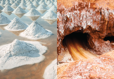 evaporated salt in a pool and the opening to the Redmon salt mine