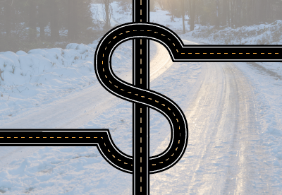dollar sign over icy roadway