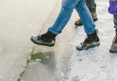 Slipping on ice