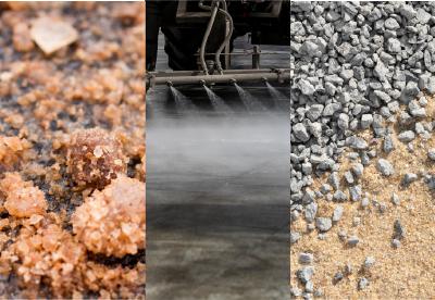 Granular deicer, liquid deicer, aggregates